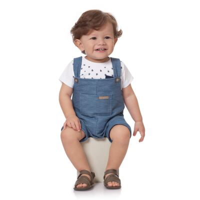 Imagem 2 do produto Jardineira para bebe em fleece Jeans Azul - Time Kids - TK5116.AZ JARDINEIRA JEANS AZUL-G