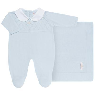 Imagem 1 do produto Jogo Maternidade com Macacão e Manta em tricot Bleu - Petit - 47104420 Jogo Maternidade c/ Gola Tricot/Fus Azul -RN