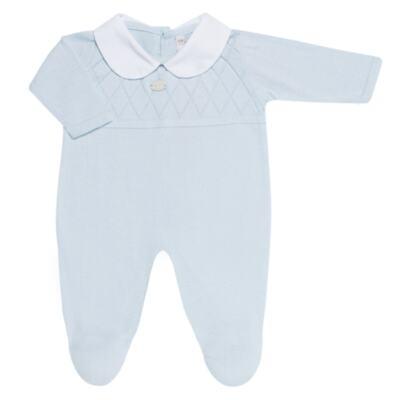 Imagem 2 do produto Jogo Maternidade com Macacão e Manta em tricot Bleu - Petit - 47104420 Jogo Maternidade c/ Gola Tricot/Fus Azul -RN