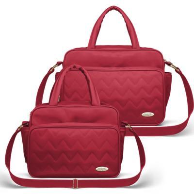 Imagem 1 do produto Bolsa maternidade para bebe Turin + Frasqueira Térmica Trento Chevron Rubi - Classic for Baby Bags