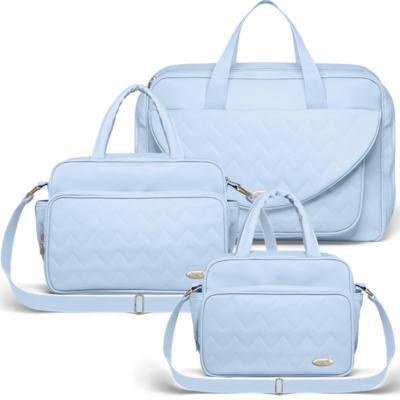 Imagem 1 do produto Mala Maternidade para bebe + Bolsa Turin + Frasqueira Térmica Trento Chevron Topázio - Classic for Baby Bags