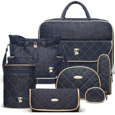 Imagem 1 do produto Mala Maternidade para bebe + Bolsa Cannes + Frasqueira Térmica Firenze + Kit Acessórios + Trocador Portátil Golden Denim - Classic for Baby Bags