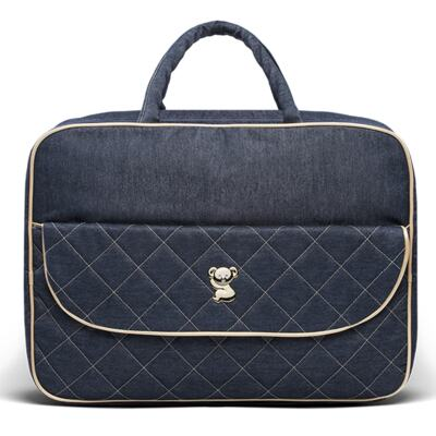 Imagem 2 do produto Mala Maternidade para bebe + Bolsa Cannes + Frasqueira Térmica Firenze + Kit Acessórios + Trocador Portátil Golden Denim - Classic for Baby Bags