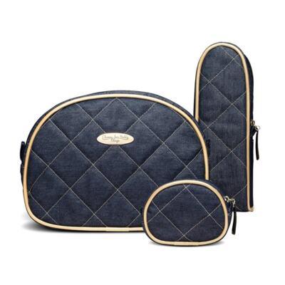 Imagem 5 do produto Mala Maternidade para bebe + Bolsa Cannes + Frasqueira Térmica Firenze + Kit Acessórios + Trocador Portátil Golden Denim - Classic for Baby Bags