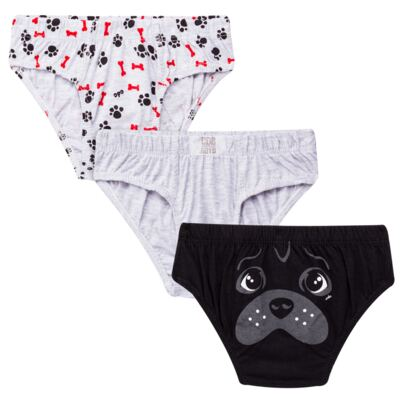 Imagem 1 do produto Kit com 3 Cuecas para bebe em malha Dogs - Cara de Criança - KK2342 Pug Masc. KK3 Kit Cueca 3pçs M/Malha -M