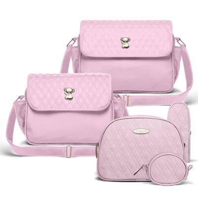 Imagem 1 do produto Bolsa maternidade para bebe Mônaco + Frasqueira Térmica Nice + Kit Acessórios Golden Koala Rosa- Classic for Baby Bags