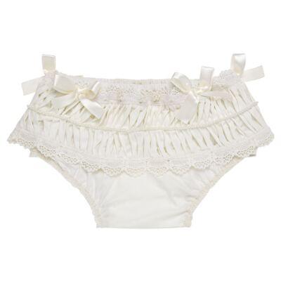 Imagem 1 do produto Calcinha para bebê em tricoline Renda Laços & Pérolas Marfim - Roana - CLLU0616031 Calcinha Luxo Laço Pérolas Marfim -M
