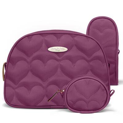Imagem 3 do produto Kit Bolsa maternidade para bebe Málaga + Kit Acessórios Corações Matelassê Vinho - Classic for Baby Bags