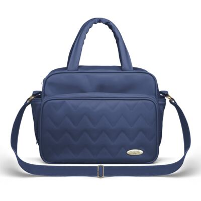 Imagem 3 do produto Bolsa maternidade para bebe Turin + Frasqueira Térmica Trento + Trocador Portátil Chevron Safira - Classic for Baby Bags