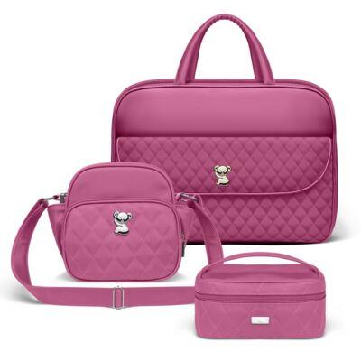 Imagem 1 do produto Kit Mala Maternidade para bebe + Frasqueira Térmica Guadalupe + Necessaire Farmacinha Colors Pink - Classic for Baby Bags