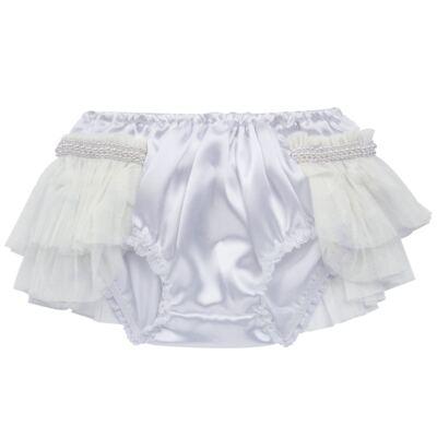 Imagem 2 do produto Calcinha para bebê Cetim Laço Tule & Pérolas Branca - Roana - CLES0033001 Calcinha Especial Branco-M