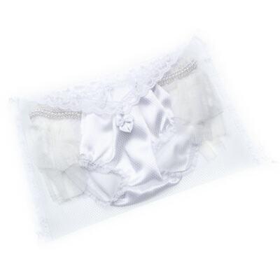 Imagem 3 do produto Calcinha para bebê Cetim Laço Tule & Pérolas Branca - Roana - CLES0033001 Calcinha Especial Branco-M