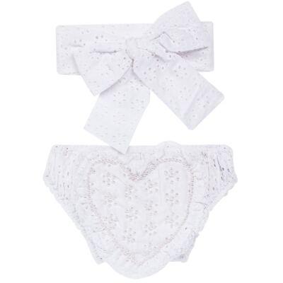 Imagem 1 do produto Conjunto de banho para bebê Coração & Pérolas: Bumbum + Faixa de Cabelo - Roana - BASTL927001 BANHO DE SOL TURBANTE LUXO 125 BRANCO-G