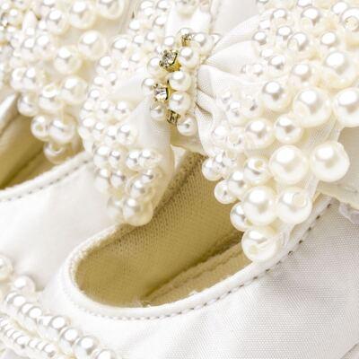 Imagem 4 do produto Sapatilha para bebe em cetim Laço Pérolas & Strass Marfim - Roana - SPL00034031 Sapatilha Luxo Laço Pérolas Marfim -M