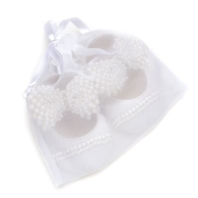 Imagem 5 do produto Sapatilha para bebe em cetim Laço Pérolas & Strass Marfim - Roana - SPL00034031 Sapatilha Luxo Laço Pérolas Marfim -M