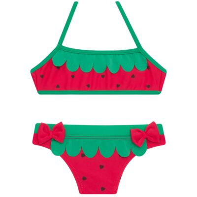 Imagem 4 do produto Conjunto de Banho Strawberry: Camiseta + Biquíni - Cara de Criança - KIT2-1253: B1253 BIQUINI + CCA1253 CAMISETA MORANGUINHO-1