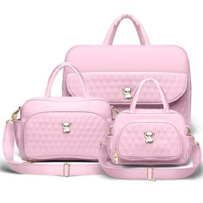 Imagem 1 do produto Kit Mala Maternidade para bebe + Bolsa Veneza + Frasqueira Térmica Milão Golden Koala Rosa- Classic for Baby Bags