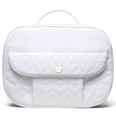 Imagem 2 do produto Kit Mala Maternidade para bebe + Bolsa Málaga + Frasqueira Santiago + Trocador Portátil Corações Matelassê Branco - Classic for Baby Bags