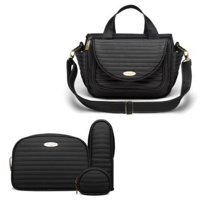 Imagem 1 do produto Bolsa Térmica para bebe Estoril + Kit Acessórios Golden Preto - Classic for Baby Bags