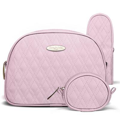 Imagem 5 do produto Kit Mala Maternidade para bebe + Bolsa Mônaco + Frasqueira Térmica Nice + Kit Acessórios + Trocador Portátil Golden Koala Rosa- Classic for Baby Bags