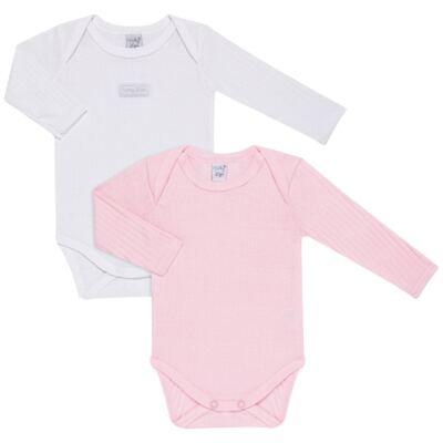 Imagem 1 do produto Pack 2 Bodies longos para bebe Sleep Comfort Branco/Rosa - Vicky Lipe - 10140001.30 PACK 2 BODIES M/L TRANSPASSADO - SUEDINE-P