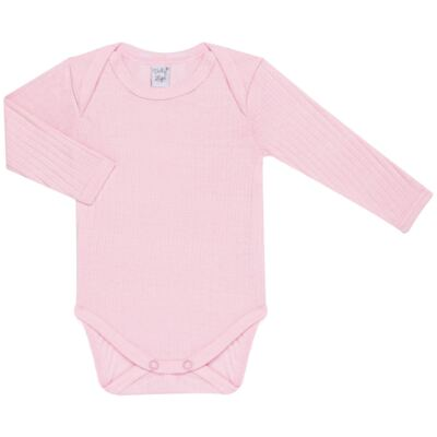 Imagem 2 do produto Pack 2 Bodies longos para bebe Sleep Comfort Branco/Rosa - Vicky Lipe - 10140001.30 PACK 2 BODIES M/L TRANSPASSADO - SUEDINE-P