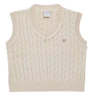 Imagem 1 do produto Colete trançado para bebe em tricot Bege - Mini & Classic - 4507650 COLETE TRANCADO TRICO NATURE-G