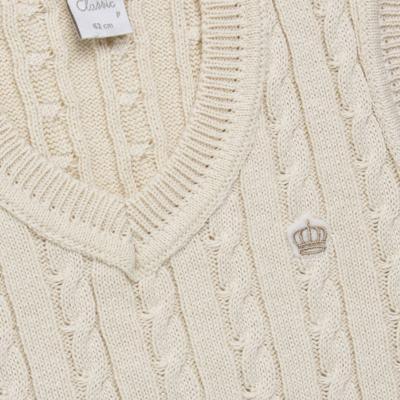 Imagem 2 do produto Colete trançado para bebe em tricot Bege - Mini & Classic - 4507650 COLETE TRANCADO TRICO NATURE-M