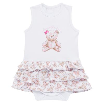 Imagem 1 do produto Body Vestido para bebe em algodão egípcio com jato de cerâmica Princess Bear - Mini & Classic - 0407655 BODY VESTIDO REG SUEDINE URSA -P