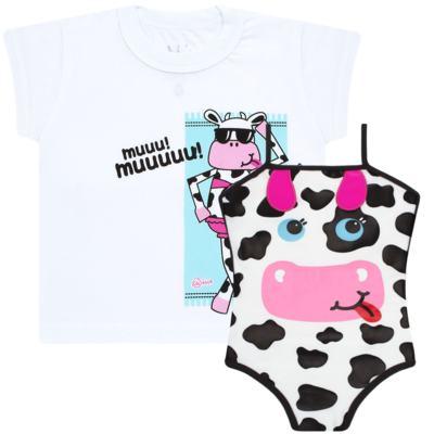 Imagem 1 do produto Conjunto de banho Vaquinha: Maiô + Camiseta - Cara de Criança - KIT1-1260: MB1260 MAIO + CCA1260 CAMISETA VAQUINHA-3