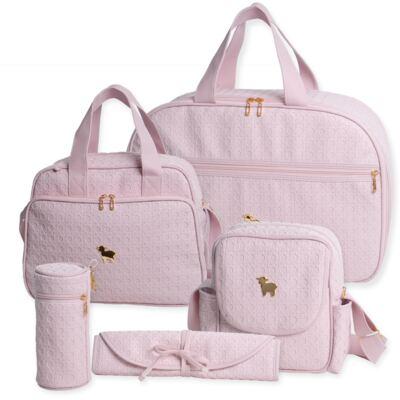Imagem 1 do produto Mala maternidade para bebe + Bolsa maternidade + Frasqueira térmica + Porta Mamadeira + Trocador portátil Tressê Rosa - Majov