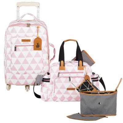 Imagem 1 do produto Mala maternidade com Rodízio + Bolsa Everyday + Frasqueira Organizadora Manhattan Rosa - Masterbag