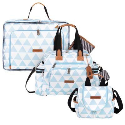 Imagem 1 do produto Mala maternidade Vintage + Bolsa Everyday + Frasqueira Emy Manhattan Azul - Masterbag