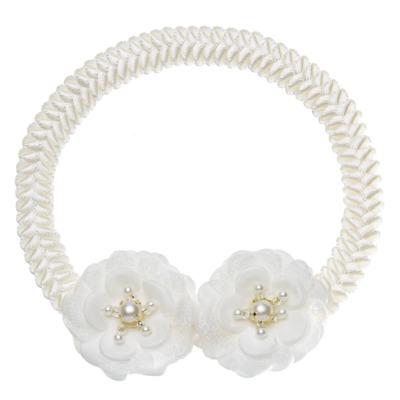 Imagem 1 do produto Faixa de cabelo trançada Flores & Pérolas Marfim - Roana