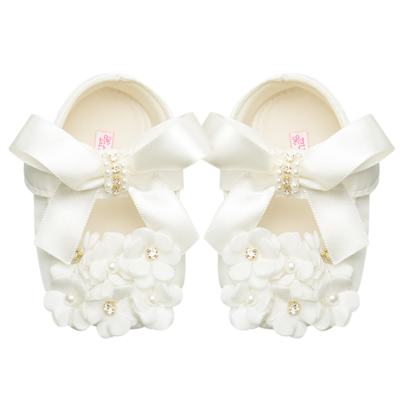 Imagem 1 do produto Sapatilha para bebe Pérolas & Strass Flores Marfim - Roana - 20040033031 SAPATILHA LUXO MARFIM-P