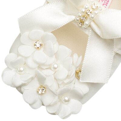 Imagem 2 do produto Sapatilha para bebe Pérolas & Strass Flores Marfim - Roana - 20040033031 SAPATILHA LUXO MARFIM-P