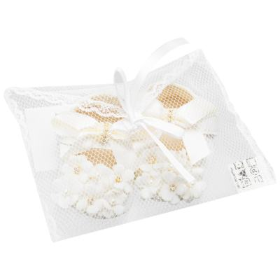Imagem 3 do produto Sapatilha para bebe Pérolas & Strass Flores Marfim - Roana - 20040033031 SAPATILHA LUXO MARFIM-P
