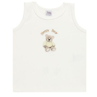 Imagem 2 do produto Regata c/ Cobre fralda para bebe em algodão egípcio Ursinho - Petit - 17944346 REGATA C/ COBRE FRALDA SUED.VISCO URSO NEUTRO -G