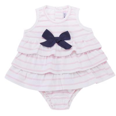 Imagem 1 do produto Body Vestido para bebe em suedine Lolita - Mini Sailor - 01224441 BODY VESTIDO C/LACOS SUEDINE ROSA BEBE-6-9