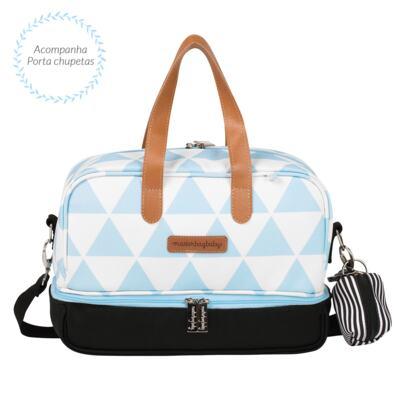 Imagem 5 do produto Mala maternidade com Rodízio + Bolsa 4 em 1 Sofia + Frasqueira térmica Vicky + Mochila Noah Manhattan Azul - Masterbag