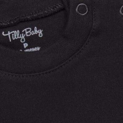 Imagem 2 do produto Body longo para bebe em suedine Preto - Tilly Baby - TB13111.08 BODY LONGO DE SUEDINE PRETO-M