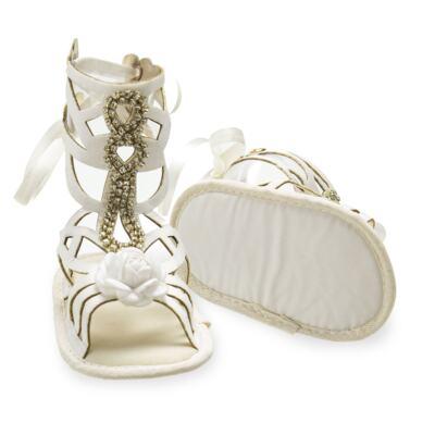 Imagem 3 do produto Sandália Gladiadora para bebe Flor & Strass - Roana - GLA00003031 SAPATILHA GLADIADORA MARFIM-P