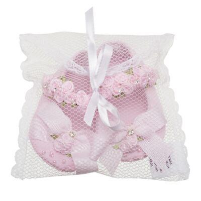 Imagem 3 do produto Sapatilha para bebe em cetim Laço & Flores Rosa - Roana - 20040038046 SAPATILHA LUXO ROSA-RN