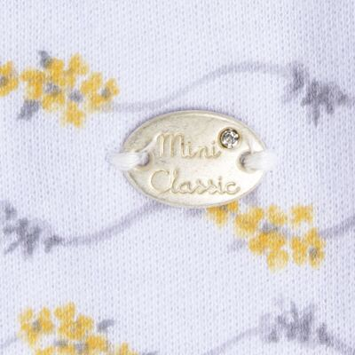 Imagem 3 do produto Macacão para bebe em algodão egípcio c/ jato de cerâmica Daisy - Mini & Classic - 2082657 MACACAO M/L C/ DET RENDA SUEDINE FLORAL AMARELO-P