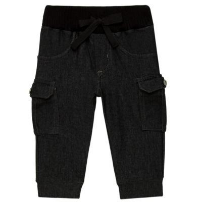 Imagem 1 do produto Calça Cargo jeans para bebe em fleece Black - Petit - 41154308 CALÇA C/ BOLSA LATERAIS FLEECE SAFARI -M
