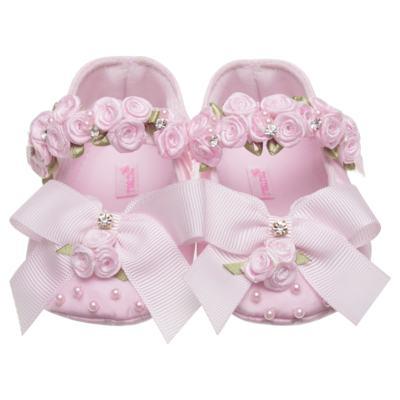Imagem 1 do produto Sapatilha para bebe em cetim Laço & Flores Rosa - Roana - 20040038046 SAPATILHA LUXO ROSA-M