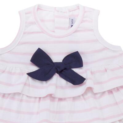 Imagem 2 do produto Body Vestido para bebe em suedine Lolita - Mini Sailor - 01224441 BODY VESTIDO C/LACOS SUEDINE ROSA BEBE-9-12
