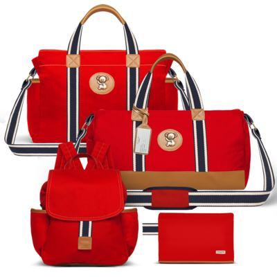 Imagem 1 do produto Bolsa maternidade para bebe + Bolsa passeio + Mochila + Necessaire Adventure em sarja Vermelha - Classic for Baby Bags