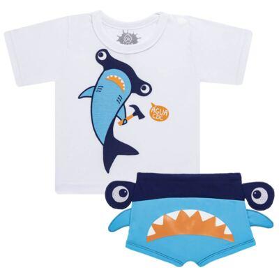 Imagem 1 do produto Conjunto de Banho Tubarão Martelo: Camiseta + Sunga - Cara de Criança - KIT 1 2910: SB2910 + CCA2910 SUNGA BOXER E CAMISETA TUBARAO MARTELO-2