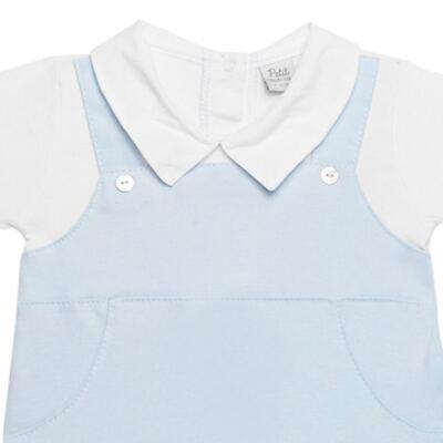 Imagem 2 do produto Macacão Jardineira para bebe em viscomfort suedine Ovelhinha Azul - Petit - 22234345 MACACAO JARDINEIRA MC SUEDINE/CO OVELHA MASC-G